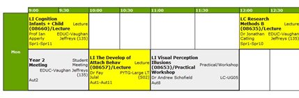 Grid timetable screen shot
