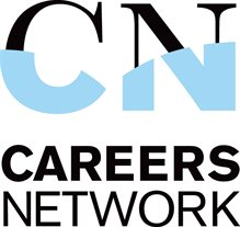 a careers network logo in blue and white