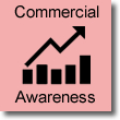 Image of bar chart with arrow pointing upwards, titled commercial awareness