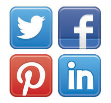 Twitter, Facebook, Pintrest and LinkedIn logos