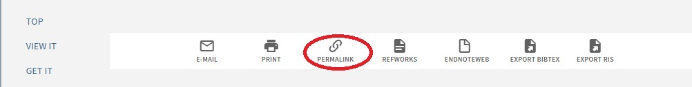 "The permalink option can be found in between ""print"" and ""refworks"" on any full item record"