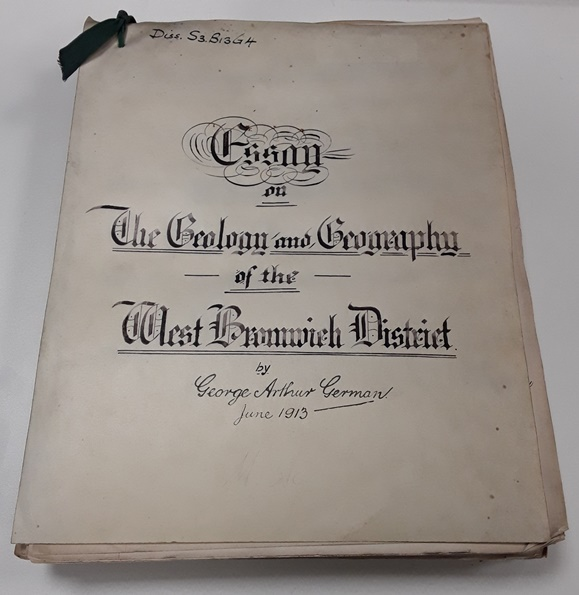 Elaborate handwritten cover of a thesis about the West Bromwich district.