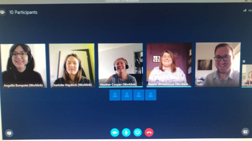 Worklink team on a skype call