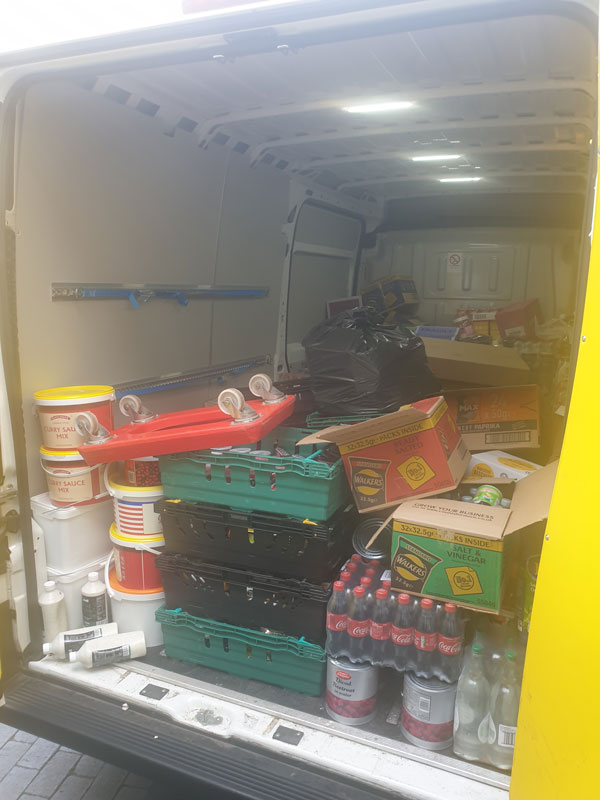 Van filled with collections for food bank
