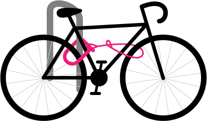Diagram of bike with the D lock passed through the frame and wheel