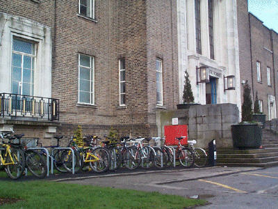 Medical School cycle parking at the front of the building