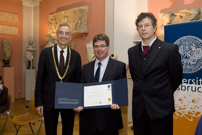 L-R: Vice Chancellor of Innsbruck University, UoB's Dr Mayhew, and Prof Scheier, Head of Physics at Innsbruck University