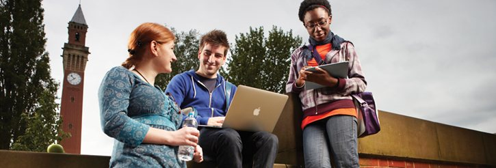 Students on campus using IT services