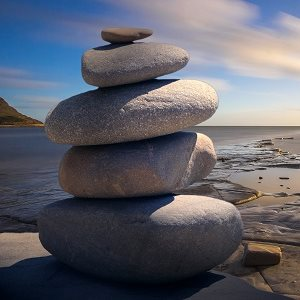Midfulness metaphor stacked stones calm