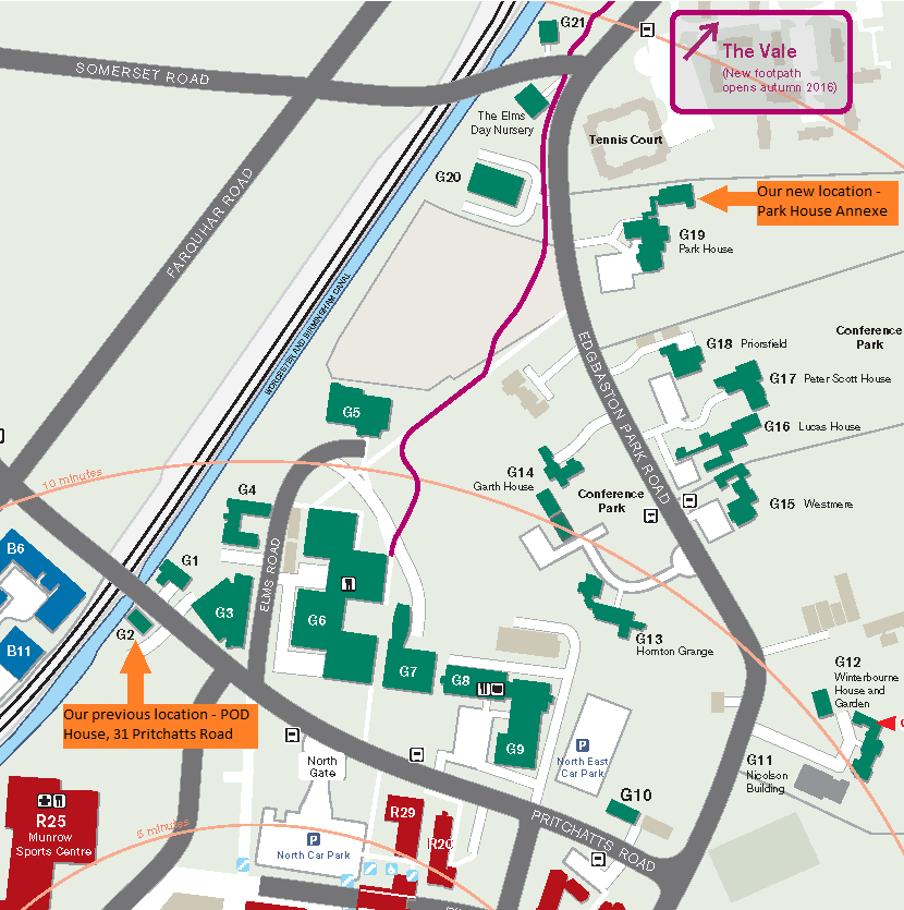 Edgbaston Campus Map Where to find POD