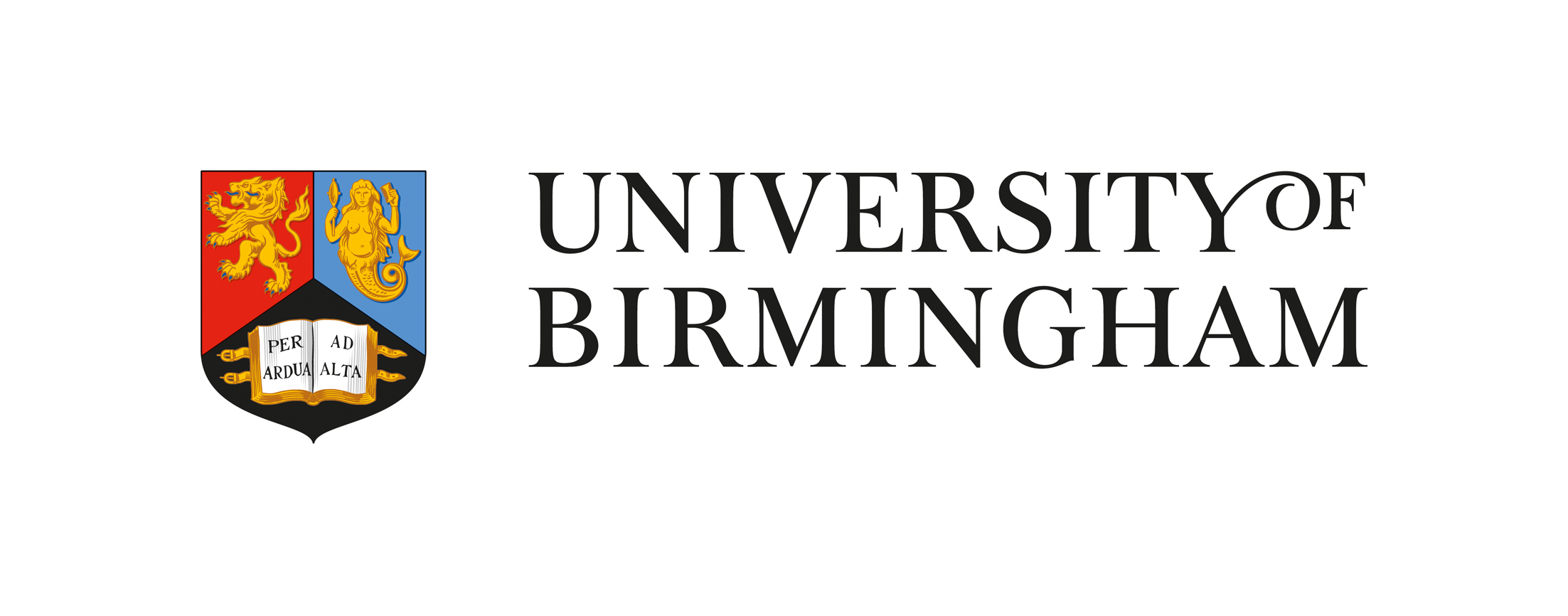 Full shield and text logo of the University of Birmingham - Shield is split into three quadrants top left hand side is read with a stylised golden double headed lion, the right hand side quadrant is light blue with a stylised golden mermaid holding a mirror, the bottom quadrant is black with a leather bound book with straps open to a double page spread reading