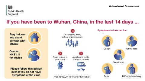 Public Health England poster about Wuhan Novel Coronavirus, with guidance and information about symptoms.